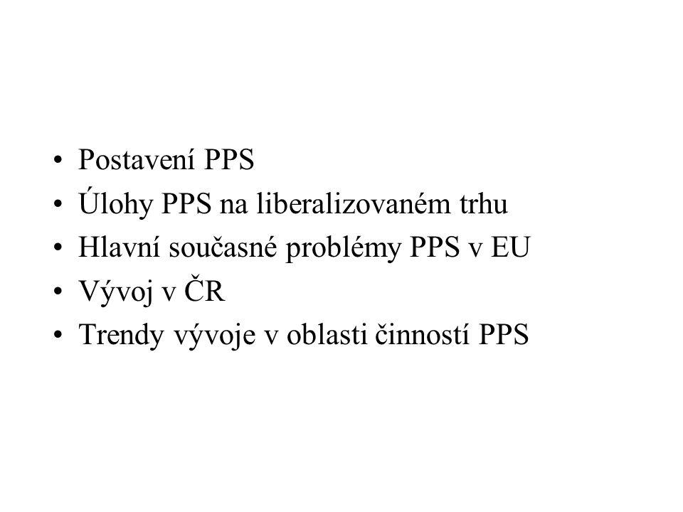 Postavení PPS Úlohy PPS na liberalizovaném trhu Hlavní současné problémy PPS v EU Vývoj v ČR Trendy vývoje v oblasti činností PPS