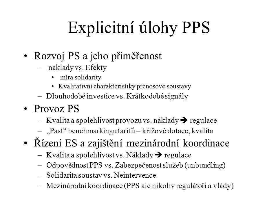 """Imlicitní úlohy PPS Součást tržních """"autorit – """"evoluce trhu Tvorba pravidel (ve vlastním zájmu) Market monitoring Přerozdělovatel""""degradace trhu Subvence a netarifní podpory (RES) Vyrovnávání regionálních specifik (ceny) Stabilizační prvek liberalizující energetiky """"dtto Stabilizace alespoň části ceny jako transformační nárazník – pokušení pro regulátory"""
