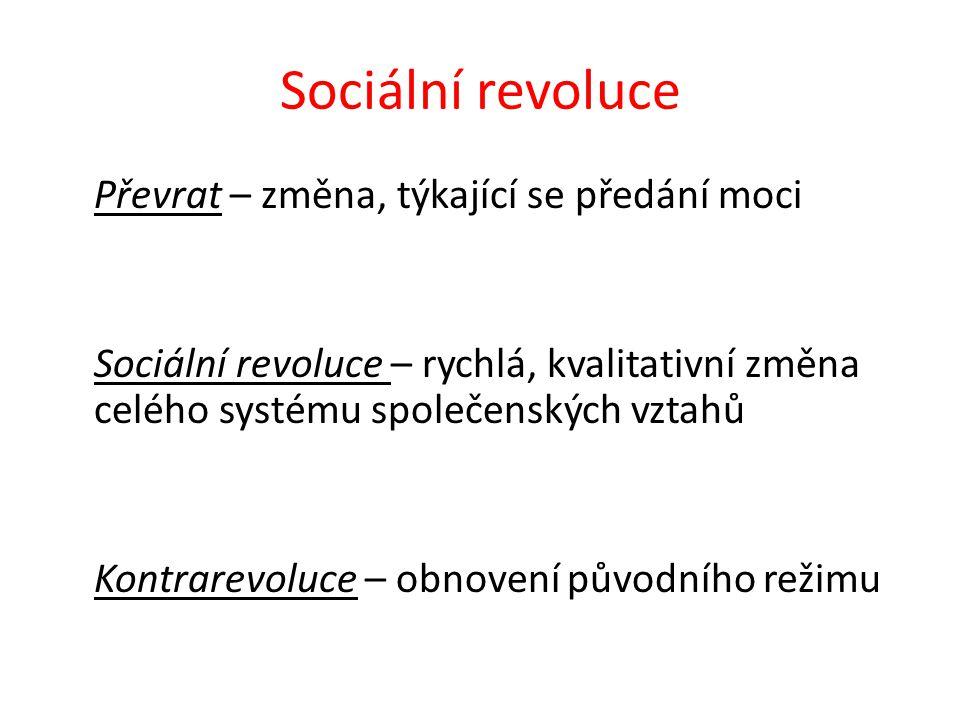 Sociální revoluce Převrat – změna, týkající se předání moci Sociální revoluce – rychlá, kvalitativní změna celého systému společenských vztahů Kontrarevoluce – obnovení původního režimu