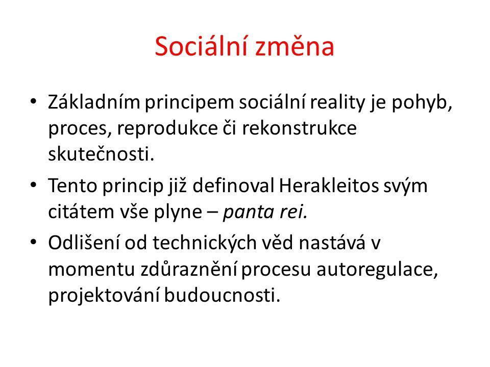 Sociální změna Základním principem sociální reality je pohyb, proces, reprodukce či rekonstrukce skutečnosti.