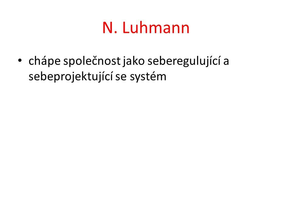 N. Luhmann chápe společnost jako seberegulující a sebeprojektující se systém