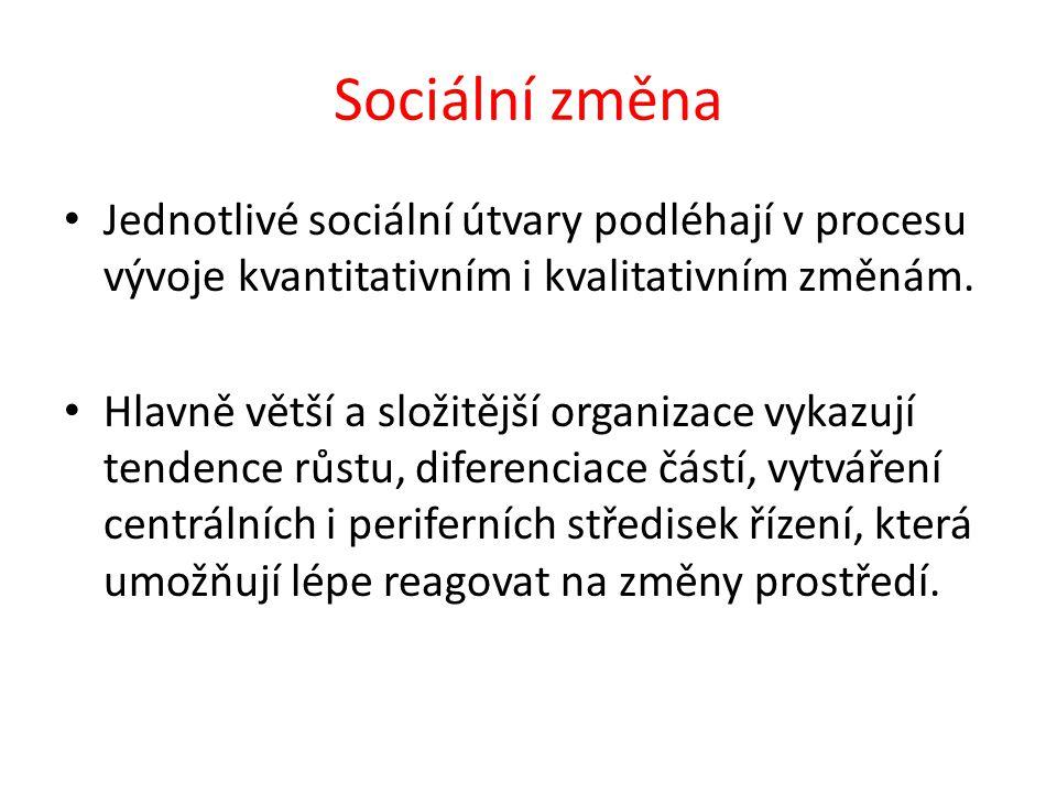 Sociální změna Jednotlivé sociální útvary podléhají v procesu vývoje kvantitativním i kvalitativním změnám.