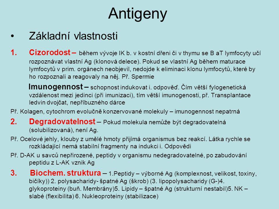 Antigeny Základní vlastnosti 1.Cizorodost – během vývoje IK b.