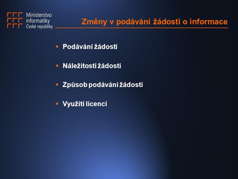 Změny v podávání žádosti o informace  Podávání žádosti  Náležitosti žádosti  Způsob podávání žádosti  Využití licencí