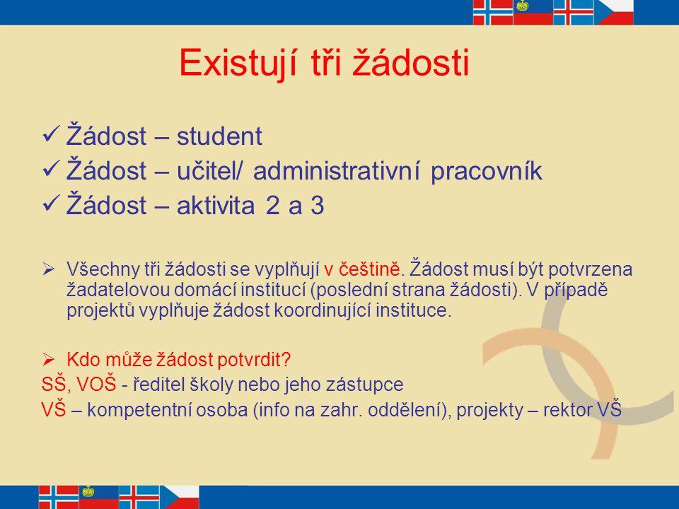 Existují tři žádosti Žádost – student Žádost – učitel/ administrativní pracovník Žádost – aktivita 2 a 3  Všechny tři žádosti se vyplňují v češtině.