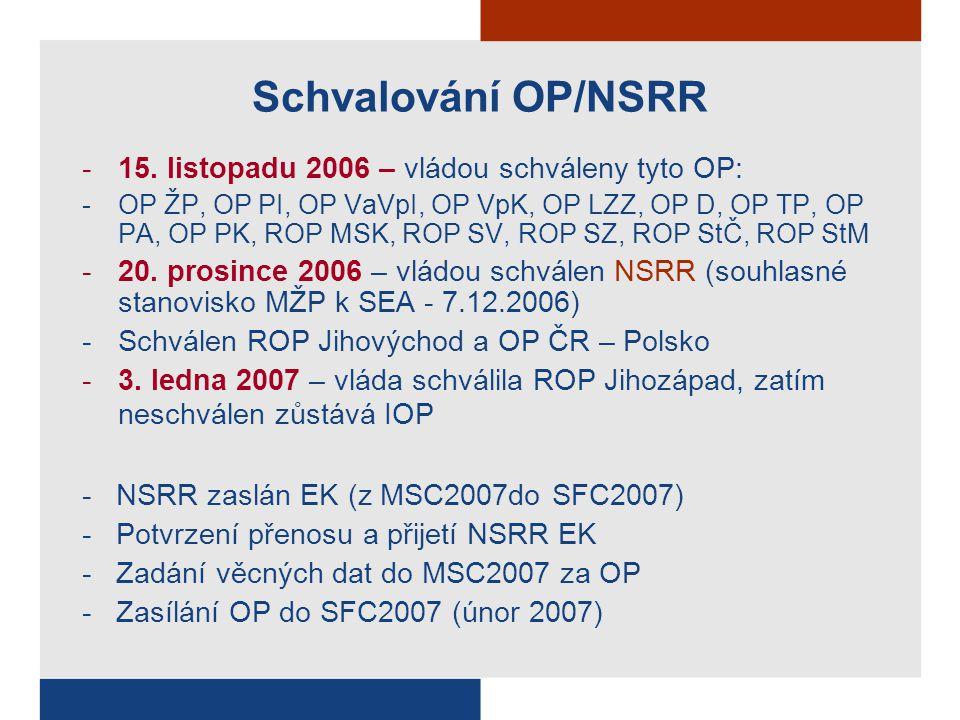 Schvalování OP/NSRR -15. listopadu 2006 – vládou schváleny tyto OP: -OP ŽP, OP PI, OP VaVpI, OP VpK, OP LZZ, OP D, OP TP, OP PA, OP PK, ROP MSK, ROP S