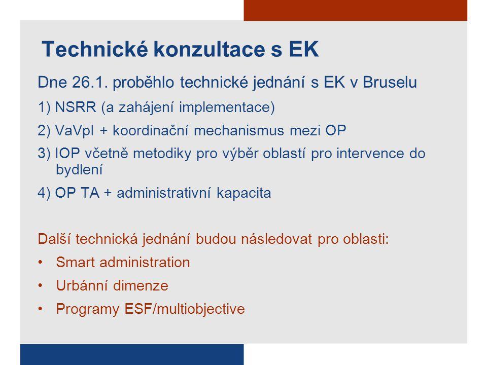 Technické konzultace s EK Dne 26.1. proběhlo technické jednání s EK v Bruselu 1) NSRR (a zahájení implementace) 2) VaVpI + koordinační mechanismus mez
