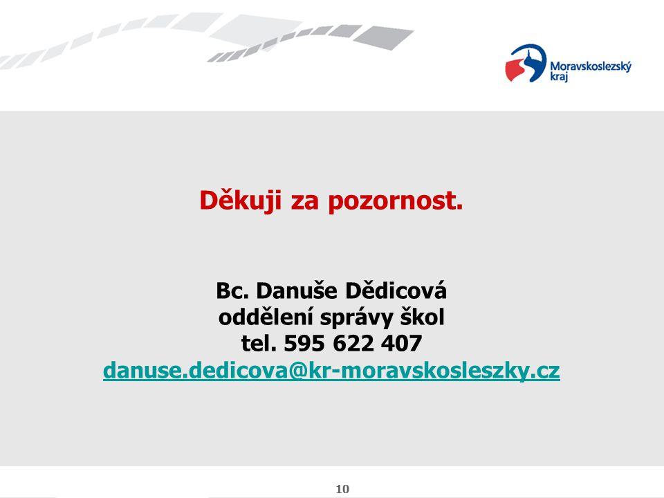 10 Děkuji za pozornost. Bc. Danuše Dědicová oddělení správy škol tel.