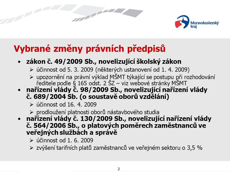 2 Vybrané změny právních předpisů zákon č. 49/2009 Sb., novelizující školský zákon  účinnost od 5.