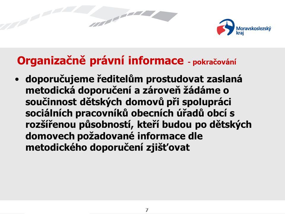7 Organizačně právní informace - pokračování doporučujeme ředitelům prostudovat zaslaná metodická doporučení a zároveň žádáme o součinnost dětských domovů při spolupráci sociálních pracovníků obecních úřadů obcí s rozšířenou působností, kteří budou po dětských domovech požadované informace dle metodického doporučení zjišťovat