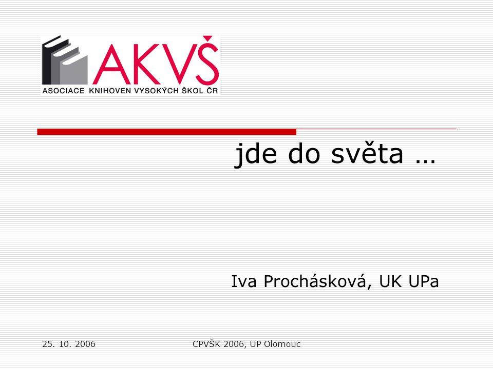 25. 10. 2006CPVŠK 2006, UP Olomouc jde do světa … Iva Prochásková, UK UPa