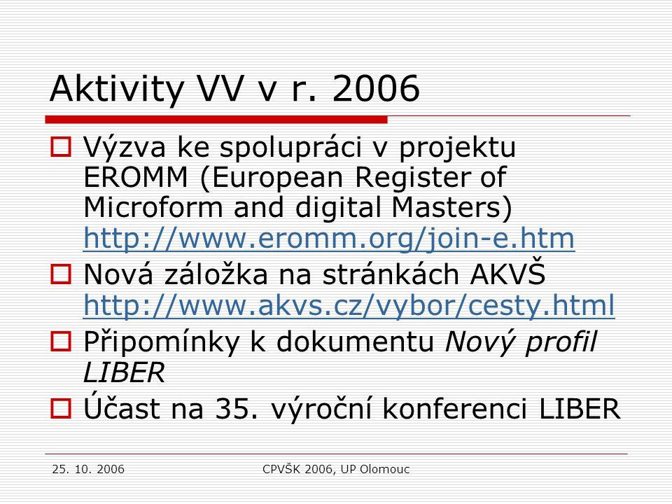 25.10. 2006CPVŠK 2006, UP Olomouc Aktivity VV v r.