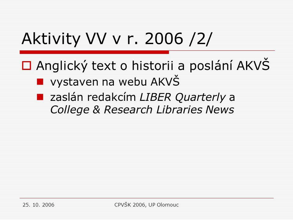 25. 10. 2006CPVŠK 2006, UP Olomouc 35. výroční konference LIBER – Uppsala, 4. až 8. července 2006
