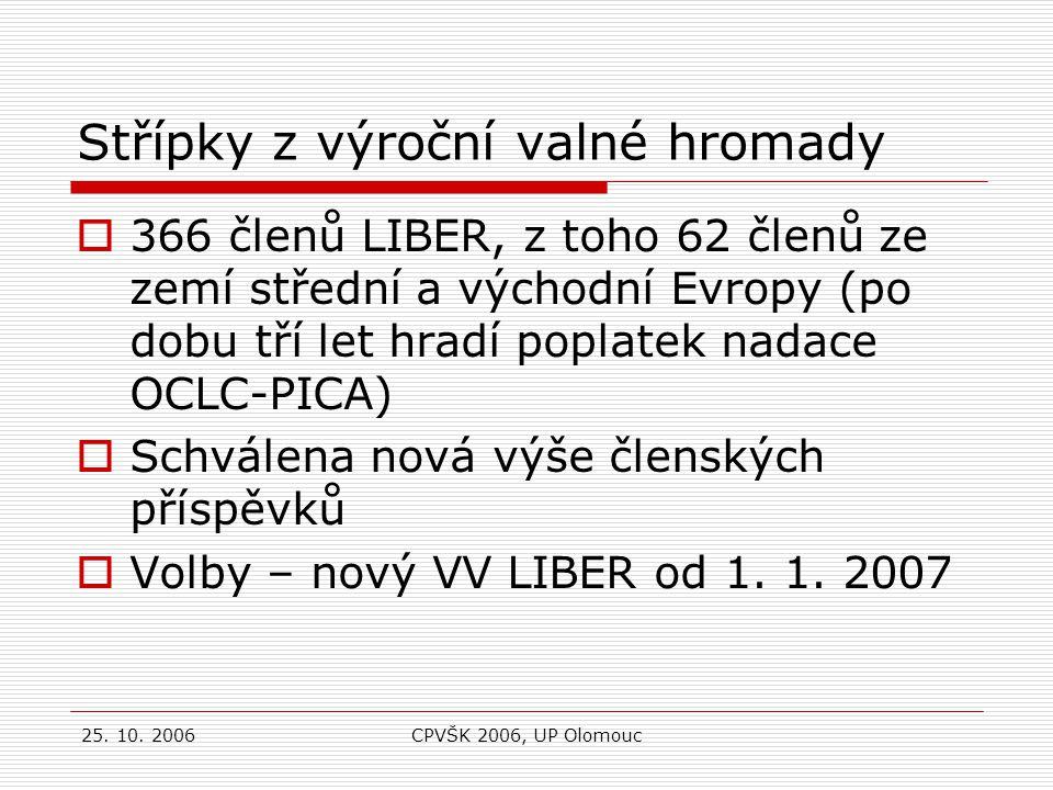 25. 10. 2006CPVŠK 2006, UP Olomouc Knihovny v AKVŠ a mezinárodní spolupráce ? Děkuji za pozornost