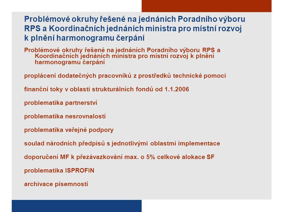Problémové okruhy řešené na jednáních Poradního výboru RPS a Koordinačních jednáních ministra pro místní rozvoj k plnění harmonogramu čerpání proplácení dodatečných pracovníků z prostředků technické pomoci finanční toky v oblasti strukturálních fondů od 1.1.2006 problematika partnerství problematika nesrovnalostí problematika veřejné podpory soulad národních předpisů s jednotlivými oblastmi implementace doporučení MF k přezávazkování max.
