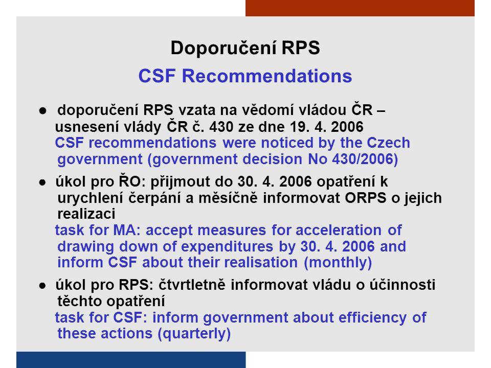Doporučení RPS CSF Recommendations ● doporučení RPS vzata na vědomí vládou ČR – usnesení vlády ČR č.