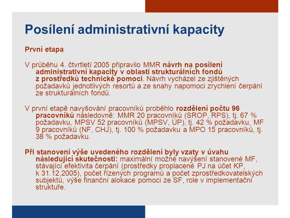 Posílení administrativní kapacity První etapa V průběhu 4.