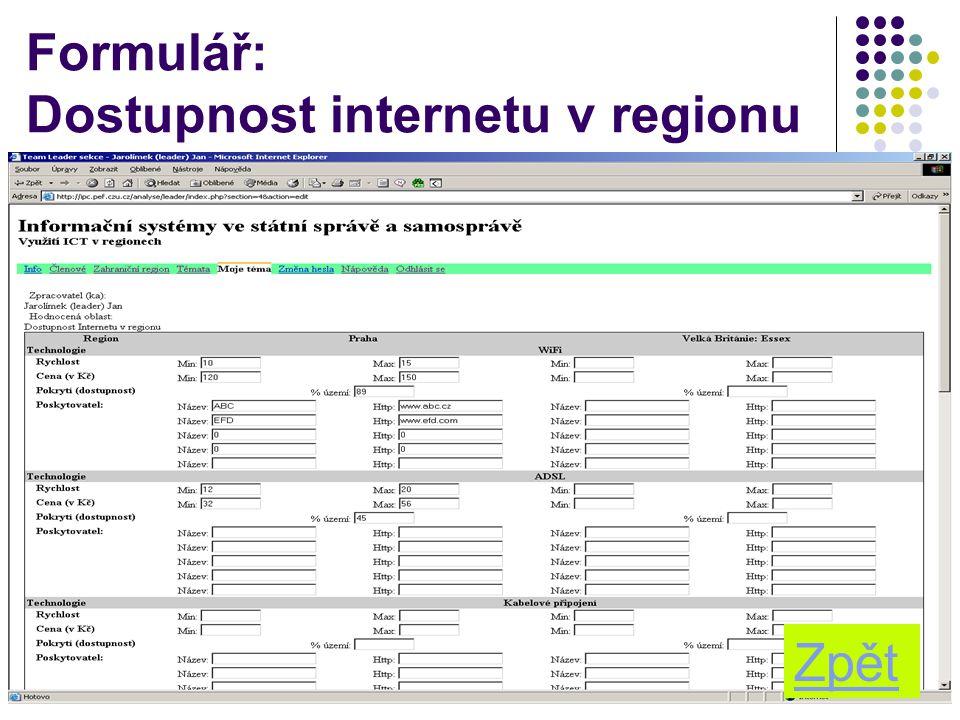 10 Formulář: Dostupnost internetu v regionu Zpět