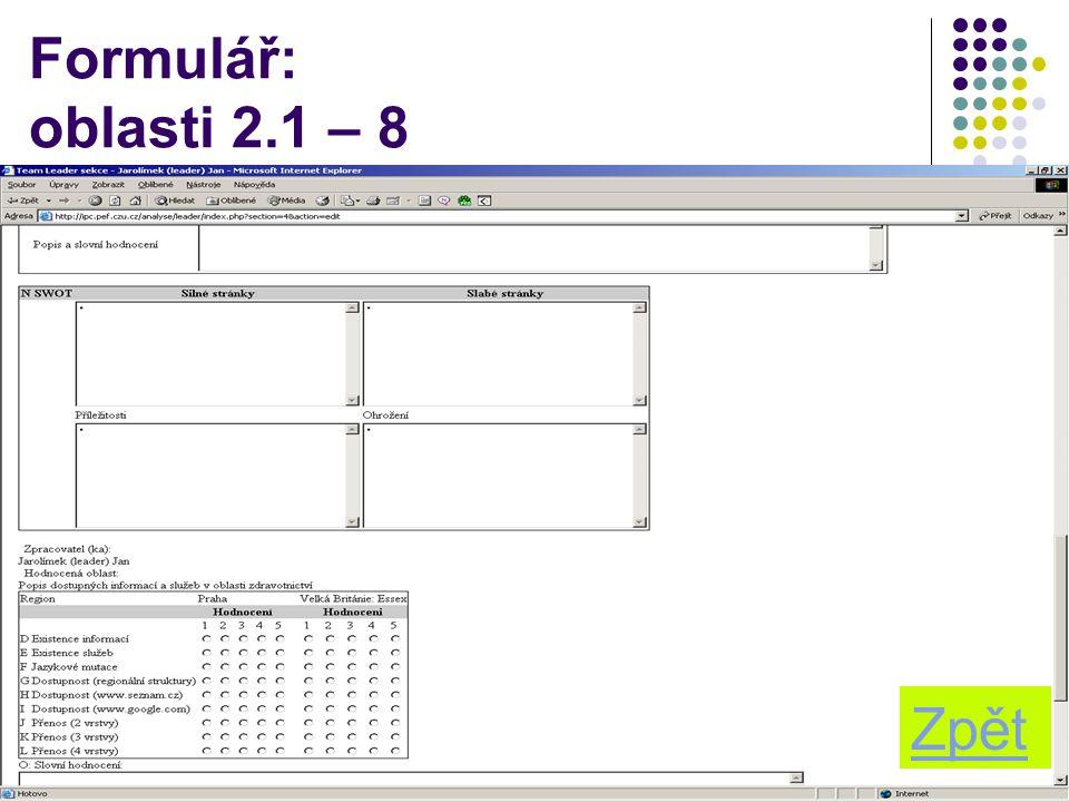 12 Formulář: oblasti 2.1 – 8 Zpět