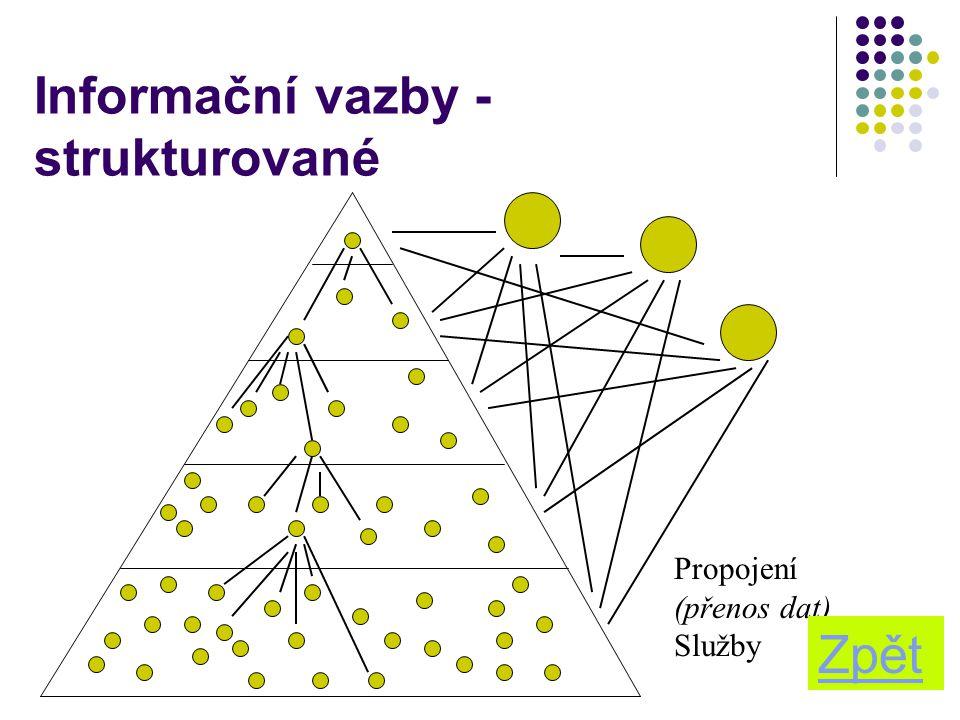 16 Informační vazby - strukturované Propojení (přenos dat) Služby Zpět