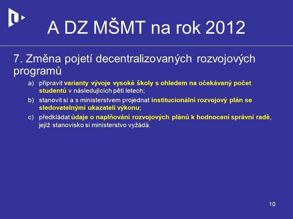A DZ MŠMT na rok 2012 7.
