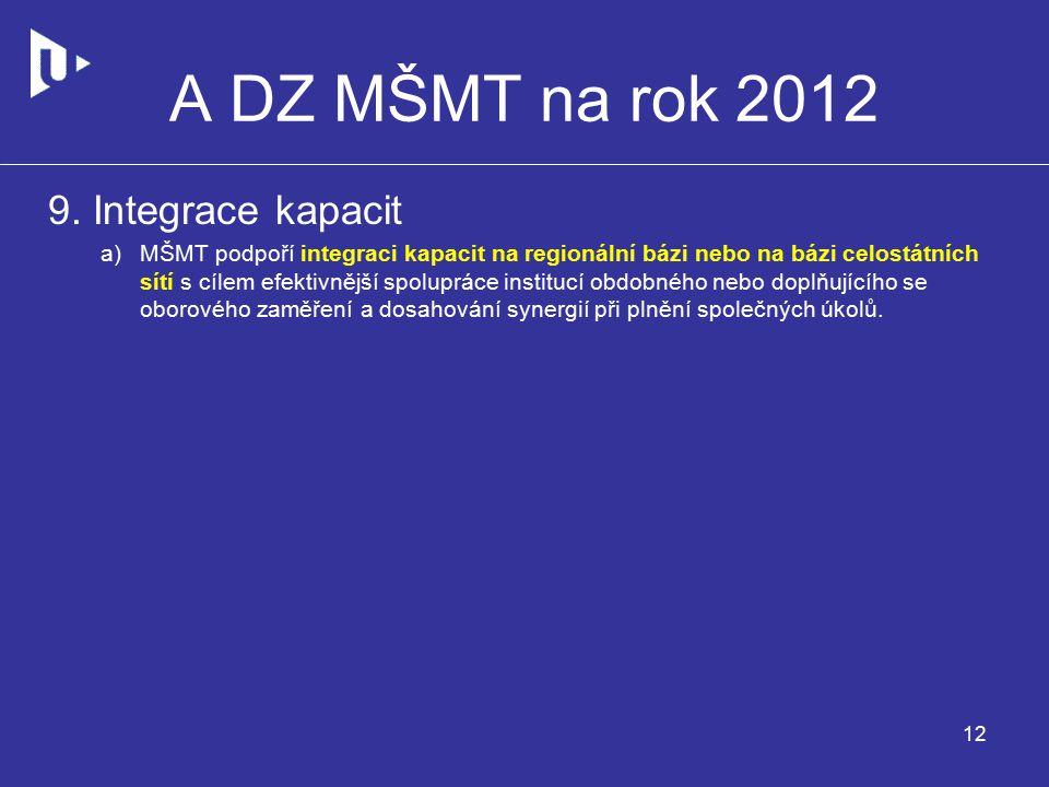 A DZ MŠMT na rok 2012 9.