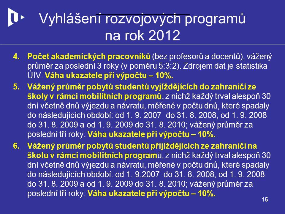 Vyhlášení rozvojových programů na rok 2012 4.Počet akademických pracovníků (bez profesorů a docentů), vážený průměr za poslední 3 roky (v poměru 5:3:2).
