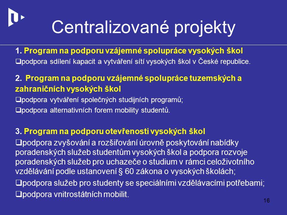 Centralizované projekty 1.