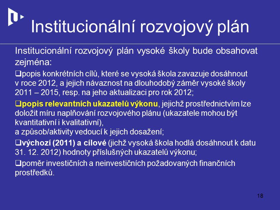 Institucionální rozvojový plán Institucionální rozvojový plán vysoké školy bude obsahovat zejména:  popis konkrétních cílů, které se vysoká škola zavazuje dosáhnout v roce 2012, a jejich návaznost na dlouhodobý záměr vysoké školy 2011 – 2015, resp.