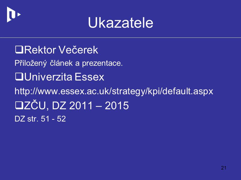 Ukazatele  Rektor Večerek Přiložený článek a prezentace.