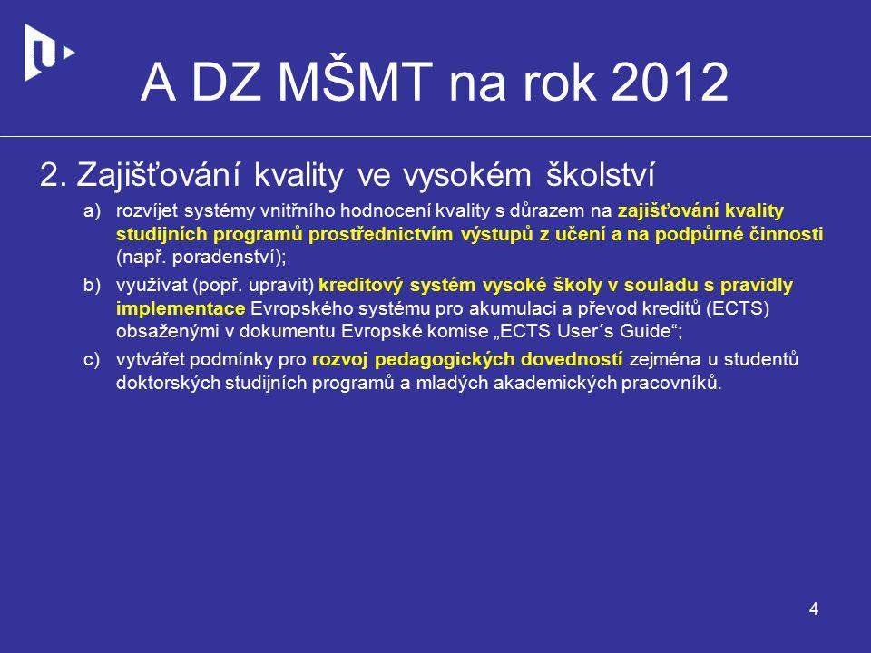 A DZ MŠMT na rok 2012 2.