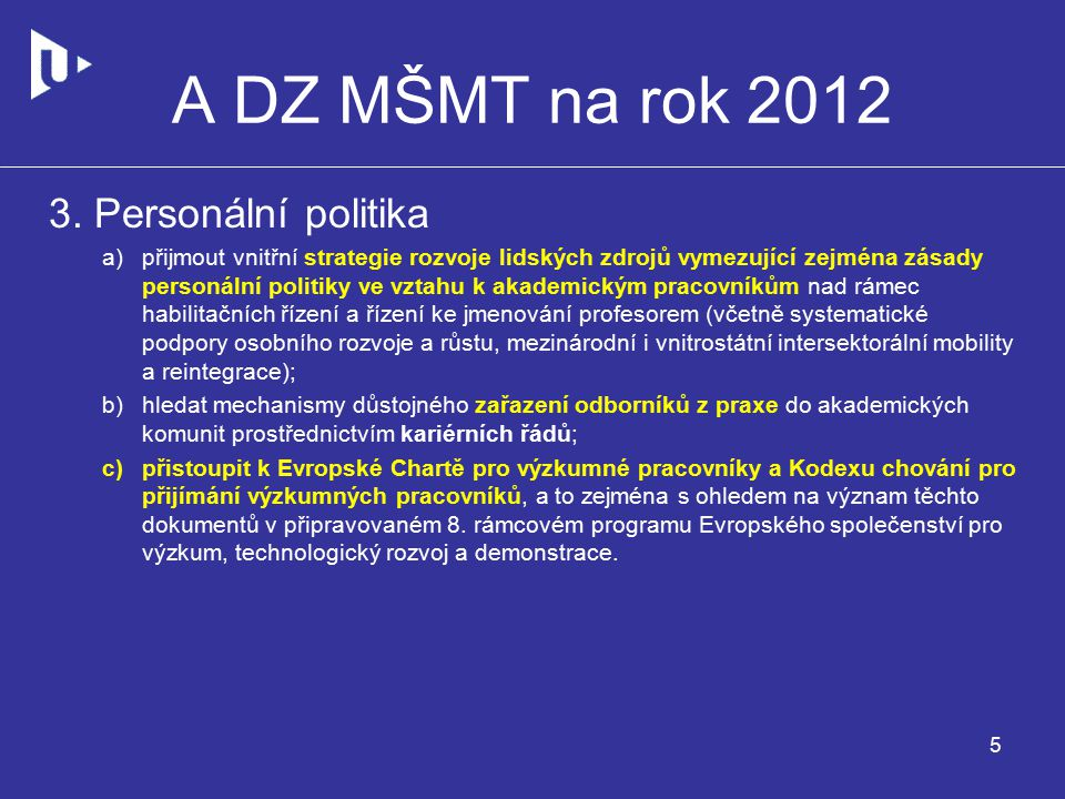 A DZ MŠMT na rok 2012 3.