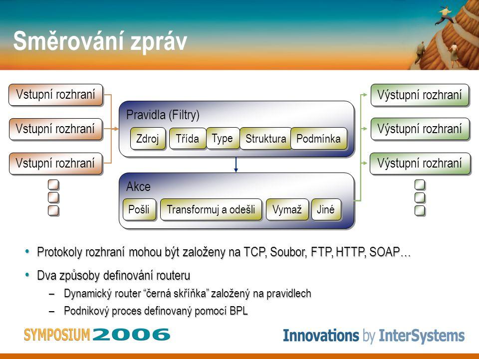 Směrování zpráv Pravidla (Filtry) Pravidla (Filtry) Zdroj Třída Type Struktura Struktura Podmínka Akce Akce Pošli Transformuj a odešli Vymaž Jiné Vstupní rozhraní Výstupní rozhraní Protokoly rozhraní mohou být založeny na TCP, Soubor, FTP, HTTP, SOAP… Protokoly rozhraní mohou být založeny na TCP, Soubor, FTP, HTTP, SOAP… Dva způsoby definování routeru Dva způsoby definování routeru –Dynamický router černá skříňka založený na pravidlech –Podnikový proces definovaný pomocí BPL
