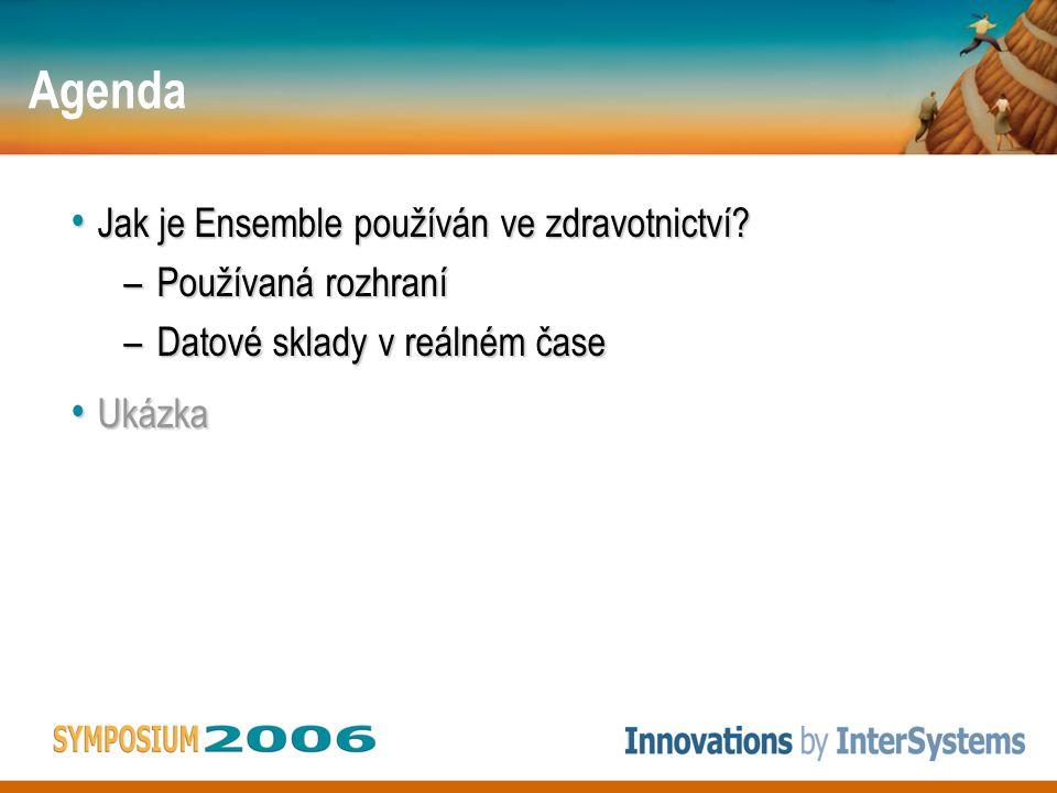 Agenda Jak je Ensemble používán ve zdravotnictví? Jak je Ensemble používán ve zdravotnictví? –Používaná rozhraní –Datové sklady v reálném čase Ukázka