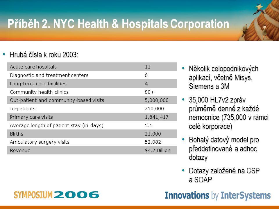 Příběh 2. NYC Health & Hospitals Corporation Několik celopodnikových aplikací, včetně Misys, Siemens a 3M Několik celopodnikových aplikací, včetně Mis