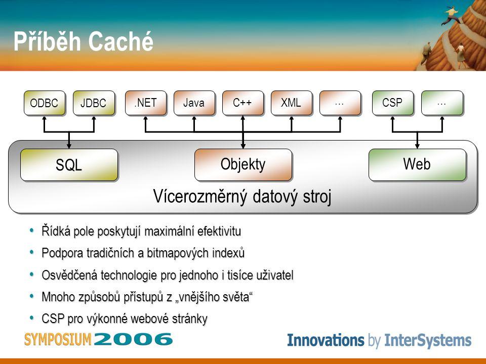 """Řídká pole poskytují maximální efektivitu Řídká pole poskytují maximální efektivitu Podpora tradičních a bitmapových indexů Podpora tradičních a bitmapových indexů Osvědčená technologie pro jednoho i tisíce uživatel Osvědčená technologie pro jednoho i tisíce uživatel Mnoho způsobů přístupů z """"vnějšího světa Mnoho způsobů přístupů z """"vnějšího světa CSP pro výkonné webové stránky CSP pro výkonné webové stránky Příběh Caché Vícerozměrný datový stroj SQL ODBC JDBC Web CSP … … Objekty.NET Java C++ XML … …"""