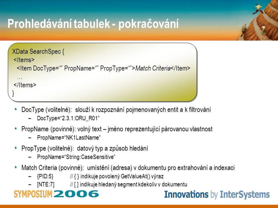 Prohledávání tabulek - pokračování XData SearchSpec { Match Criteria … } XData SearchSpec { Match Criteria … } DocType (volitelné): slouží k rozpoznání pojmenovaných entit a k filtrování DocType (volitelné): slouží k rozpoznání pojmenovaných entit a k filtrování –DocType= 2.3.1:ORU_R01 PropName (povinné): volný text – jméno reprezentující párovanou vlastnost PropName (povinné): volný text – jméno reprezentující párovanou vlastnost –PropName= NK1LastName PropType (volitelné): datový typ a způsob hledání PropType (volitelné): datový typ a způsob hledání –PropName= String:CaseSensitive Match Criteria (povinné): umístění (adresa) v dokumentu pro extrahování a indexaci Match Criteria (povinné): umístění (adresa) v dokumentu pro extrahování a indexaci –{PID:5}// { } indikuje povolený GetValueAt() výraz –[NTE:7]// [ ] indikuje hledaný segment kdekoliv v dokumentu
