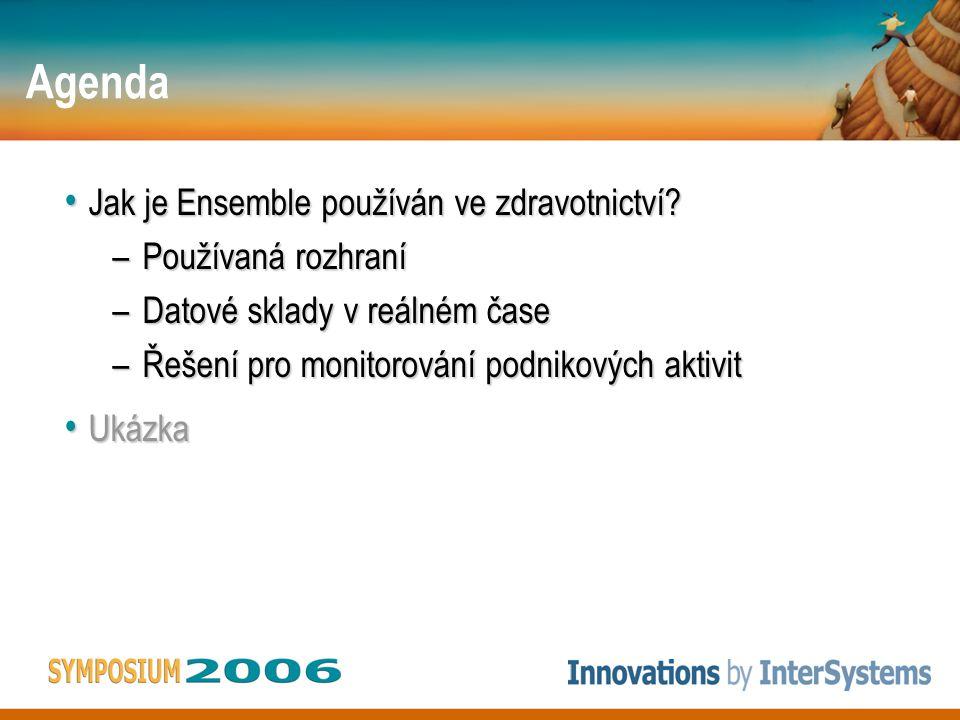 Agenda Jak je Ensemble používán ve zdravotnictví? Jak je Ensemble používán ve zdravotnictví? –Používaná rozhraní –Datové sklady v reálném čase –Řešení