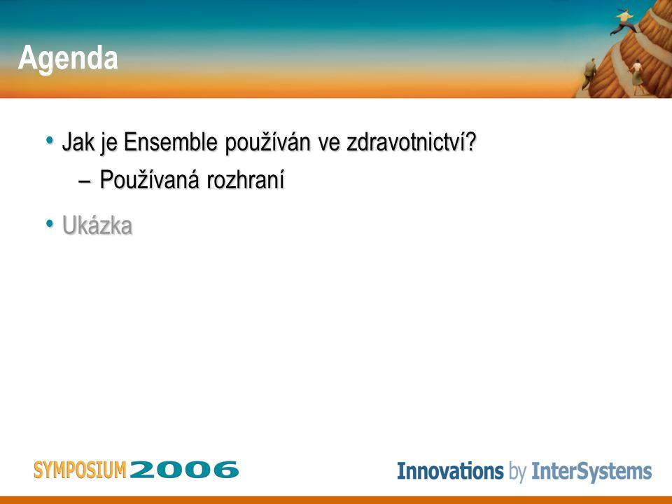 Agenda Jak je Ensemble používán ve zdravotnictví? Jak je Ensemble používán ve zdravotnictví? –Používaná rozhraní Ukázka Ukázka
