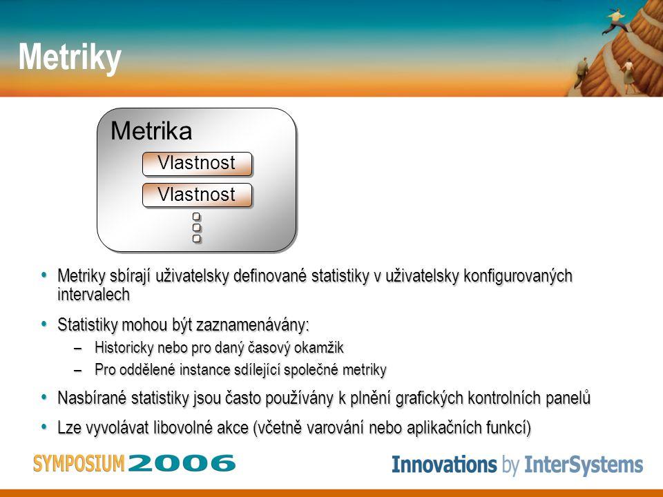 Metriky Metriky sbírají uživatelsky definované statistiky v uživatelsky konfigurovaných intervalech Metriky sbírají uživatelsky definované statistiky