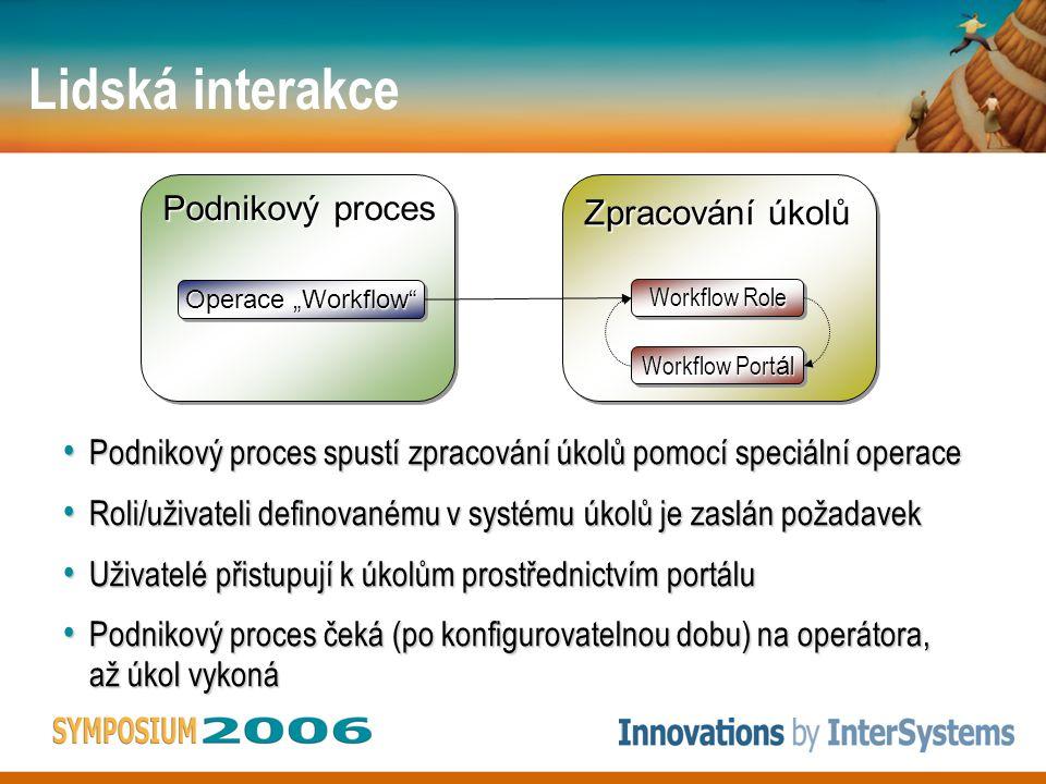 """Lidská interakce Zpracování úkolů Workflow Role Workflow Port á l Podnikový proces Operace """"Workflow Podnikový proces spustí zpracování úkolů pomocí speciální operace Podnikový proces spustí zpracování úkolů pomocí speciální operace Roli/uživateli definovanému v systému úkolů je zaslán požadavek Roli/uživateli definovanému v systému úkolů je zaslán požadavek Uživatelé přistupují k úkolům prostřednictvím portálu Uživatelé přistupují k úkolům prostřednictvím portálu Podnikový proces čeká (po konfigurovatelnou dobu) na operátora, až úkol vykoná Podnikový proces čeká (po konfigurovatelnou dobu) na operátora, až úkol vykoná"""