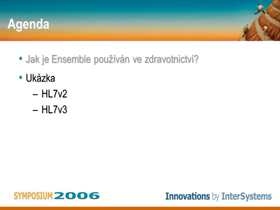 Agenda Jak je Ensemble používán ve zdravotnictví? Jak je Ensemble používán ve zdravotnictví? Ukázka Ukázka –HL7v2 –HL7v3