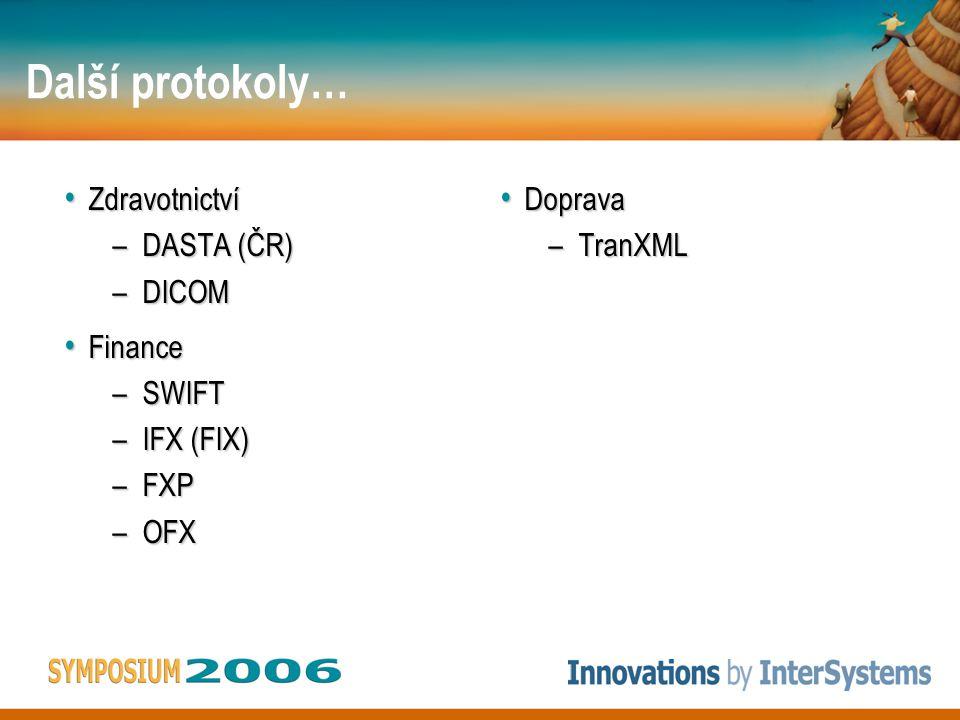 Další protokoly… Zdravotnictví Zdravotnictví –DASTA (ČR) –DICOM Finance Finance –SWIFT –IFX (FIX) –FXP –OFX Doprava Doprava –TranXML