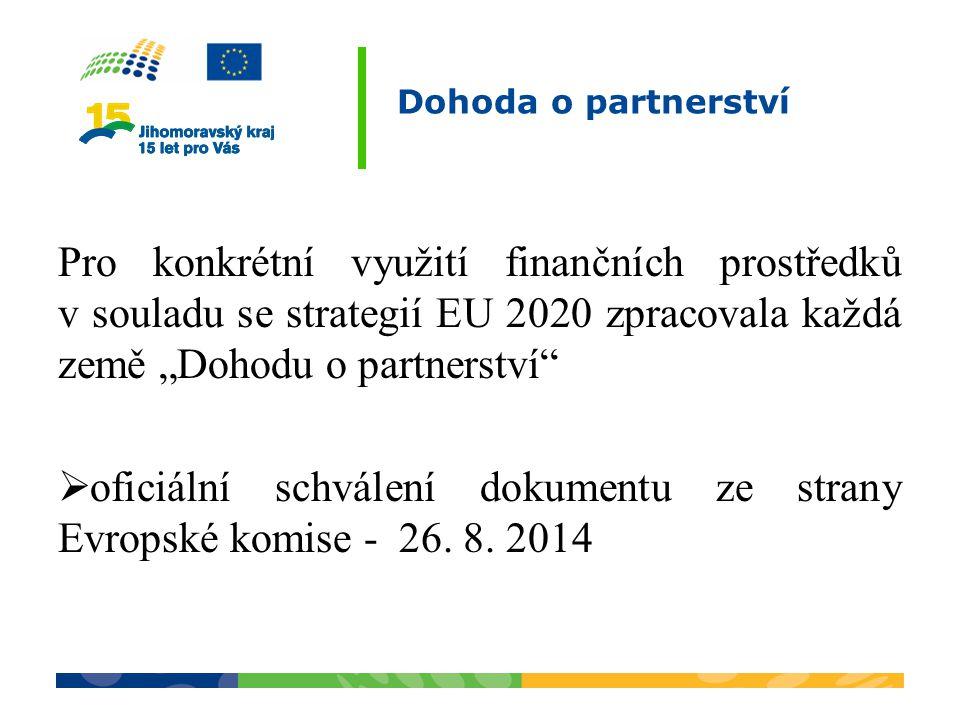 """Dohoda o partnerství Pro konkrétní využití finančních prostředků v souladu se strategií EU 2020 zpracovala každá země """"Dohodu o partnerství  oficiální schválení dokumentu ze strany Evropské komise - 26."""