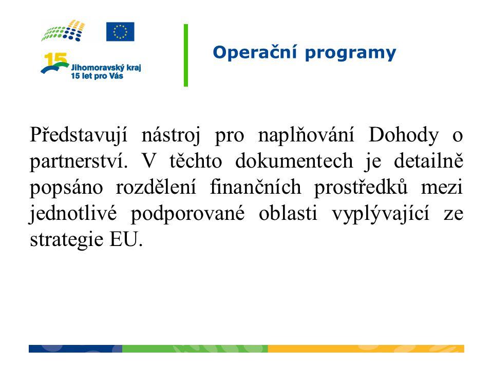 Operační programy Představují nástroj pro naplňování Dohody o partnerství. V těchto dokumentech je detailně popsáno rozdělení finančních prostředků me