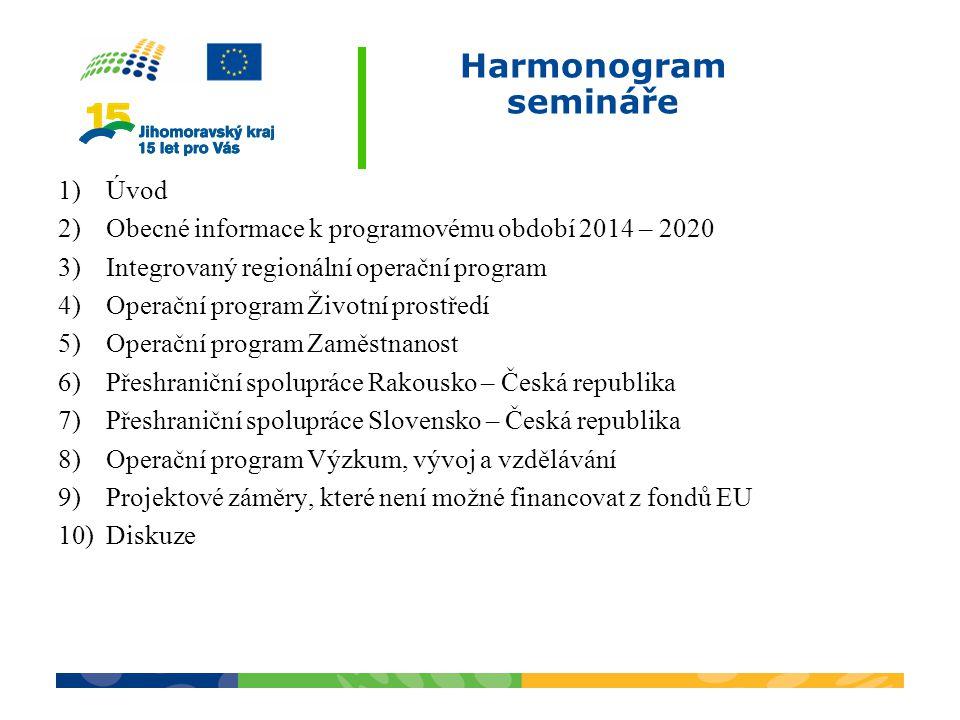 Harmonogram semináře 1)Úvod 2)Obecné informace k programovému období 2014 – 2020 3)Integrovaný regionální operační program 4)Operační program Životní