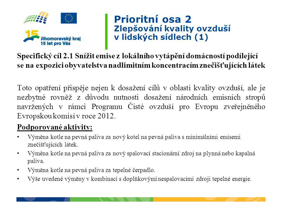 Prioritní osa 2 Zlepšování kvality ovzduší v lidských sídlech (1) Specifický cíl 2.1 Snížit emise z lokálního vytápění domácností podílející se na expozici obyvatelstva nadlimitním koncentracím znečišťujících látek Toto opatření přispěje nejen k dosažení cílů v oblasti kvality ovzduší, ale je nezbytné rovněž z důvodu nutnosti dosažení národních emisních stropů navržených v rámci Programu Čisté ovzduší pro Evropu zveřejněného Evropskou komisí v roce 2012.