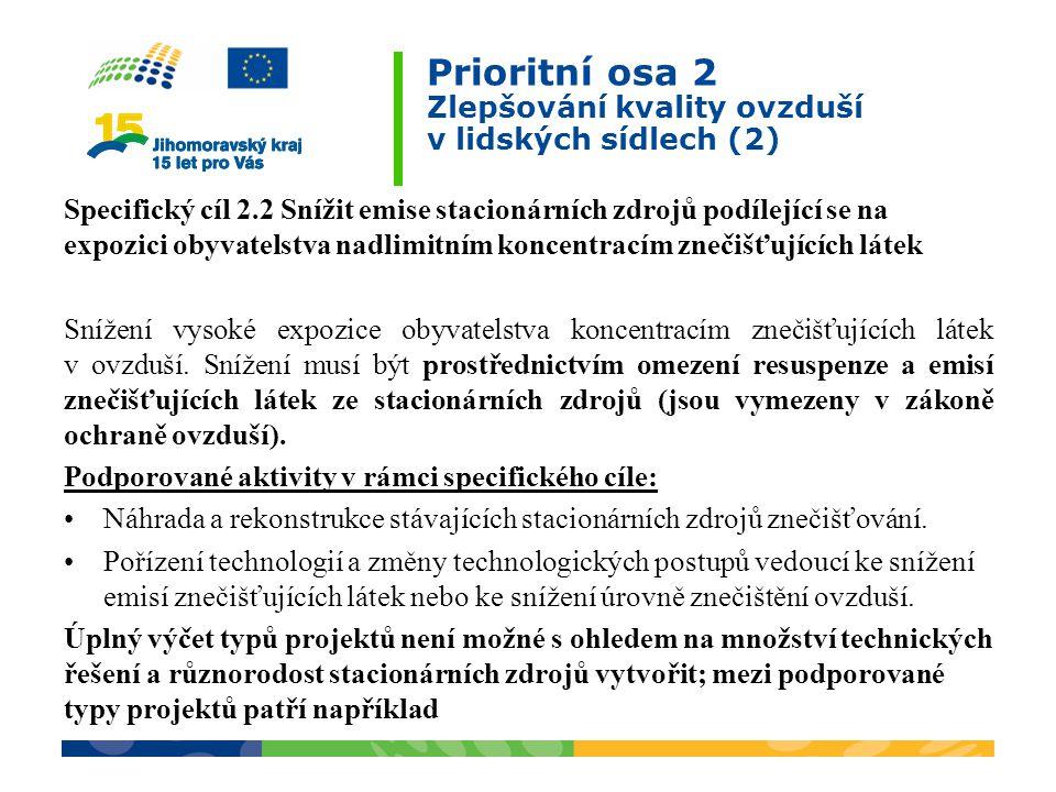 Prioritní osa 2 Zlepšování kvality ovzduší v lidských sídlech (2) Specifický cíl 2.2 Snížit emise stacionárních zdrojů podílející se na expozici obyva