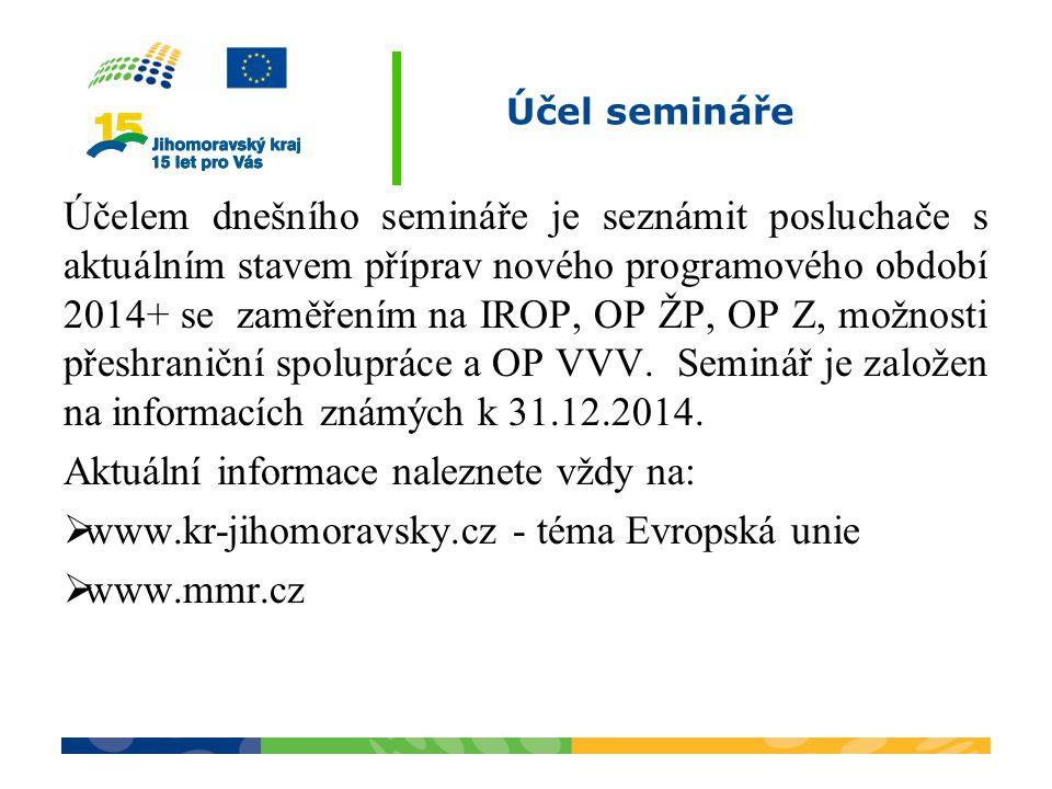 Účel semináře Účelem dnešního semináře je seznámit posluchače s aktuálním stavem příprav nového programového období 2014+ se zaměřením na IROP, OP ŽP, OP Z, možnosti přeshraniční spolupráce a OP VVV.