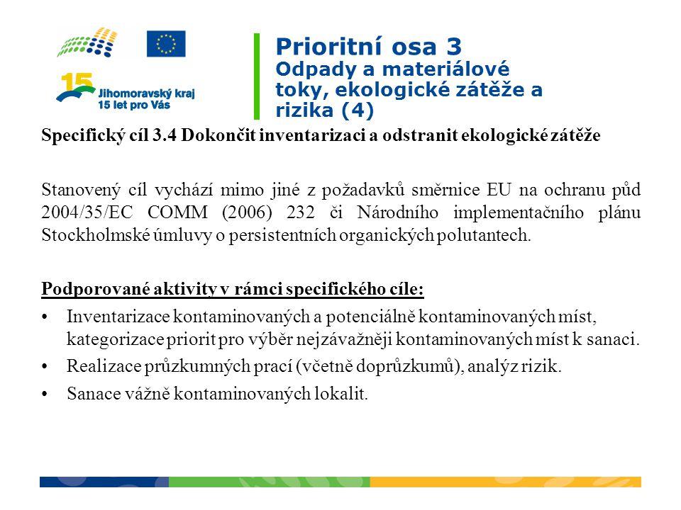 Prioritní osa 3 Odpady a materiálové toky, ekologické zátěže a rizika (4) Specifický cíl 3.4 Dokončit inventarizaci a odstranit ekologické zátěže Stanovený cíl vychází mimo jiné z požadavků směrnice EU na ochranu půd 2004/35/EC COMM (2006) 232 či Národního implementačního plánu Stockholmské úmluvy o persistentních organických polutantech.